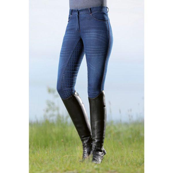 HKM Riding Breeches Summer Denim Easy 3/4 Silicone