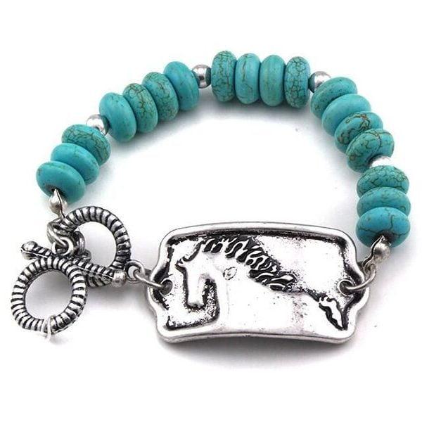 AWST International Turquoise & Silver Tone Toggle Bracelet