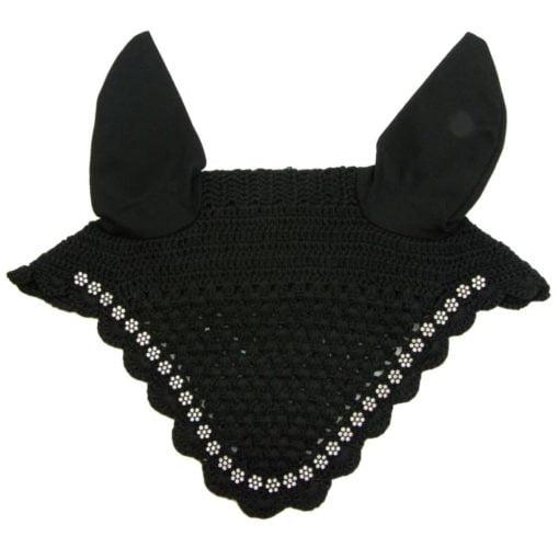 Crochet Fly Veil with White Crystal Flower Rhinestones