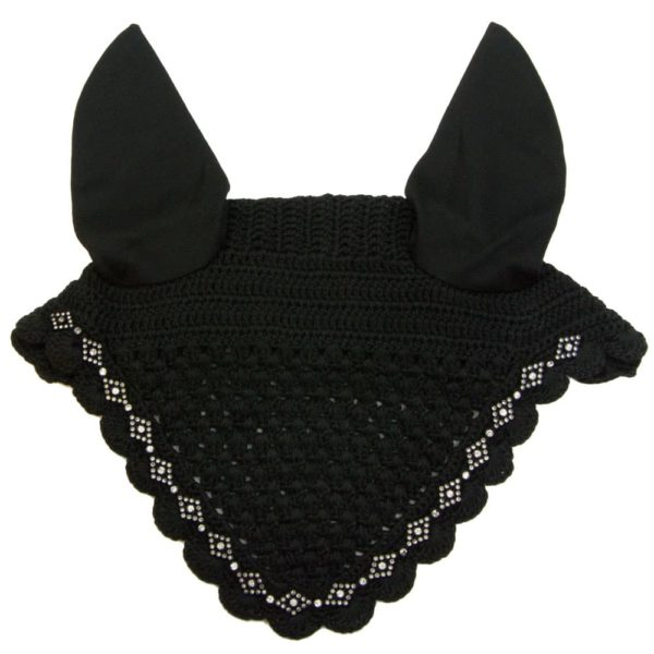 Crochet Fly Veil with White Diamond Shaped Rhinestones