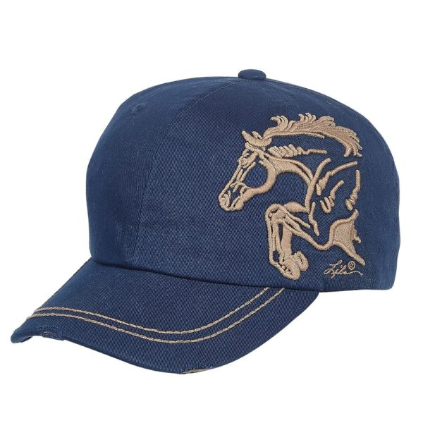 Distressed Baseball Cap with 3D Embroidered Jumper - Navy Navy Unisex One Size