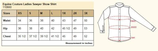 Equine Couture Sawyer Show Shirt Size Chart