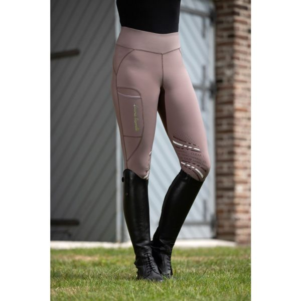 HKM Elemento Riding Leggings Silicone Knee Patch Brown