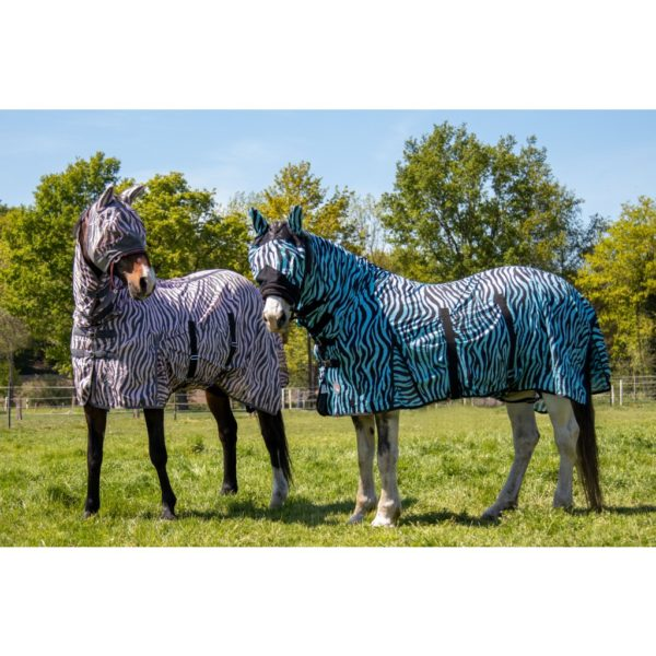 HKM Fly Sheet with Neck Piece Aqua Zebra