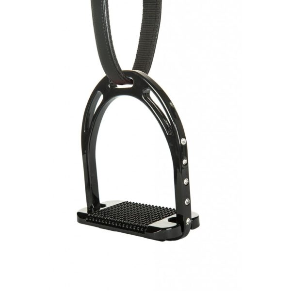 HKM Stirrup Irons Black Glitter