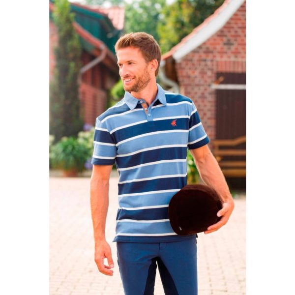 KINGSTON Polo Shirt - San Francisco Stripe Deep Blue/Smokey Blue