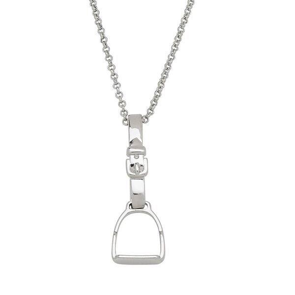 AWST International Rhodium English Stirrup Necklace
