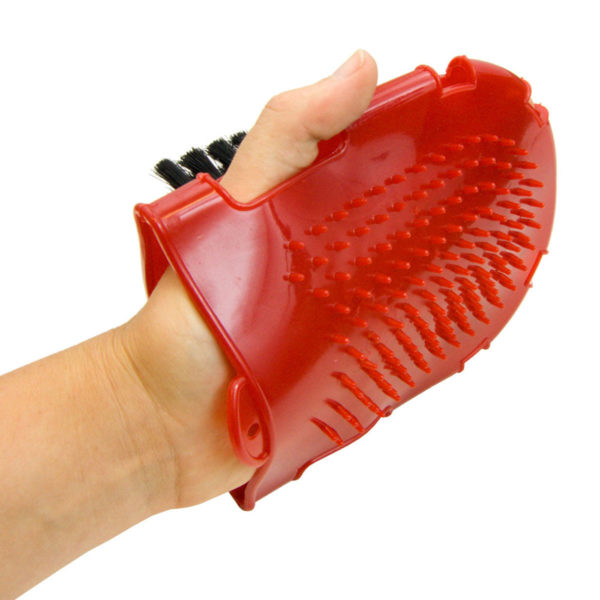 Plastic Bristle Grooming Mitt Red