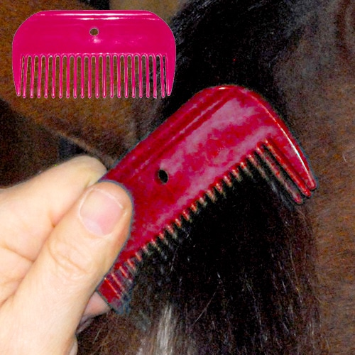 Plastic Mane Comb - Small Red